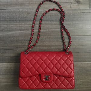 CHANEL Classic Double Flap in Lambskin (Red)
